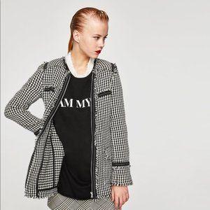Long Tweed Black White Jacket Coat w Chain XS NEW